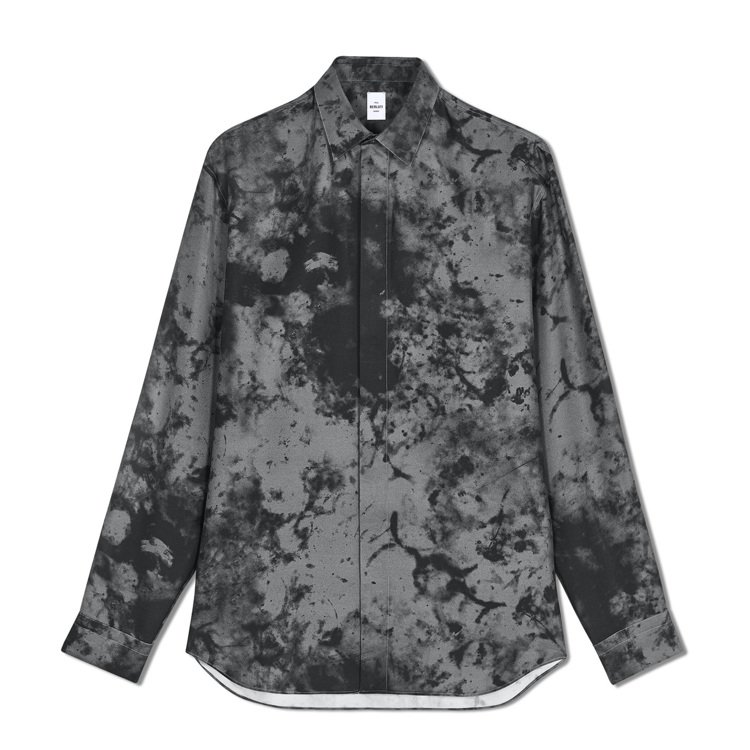 Berluti大理石紋灰色真絲襯衫34,500元。圖/Berluti提供