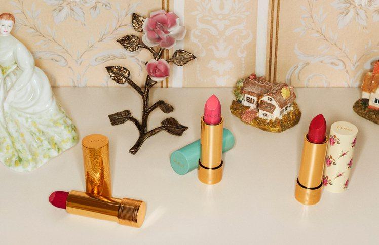 Gucci全新唇膏以3款以不同配方研發而,包裝也各有特色。圖/Gucci提供