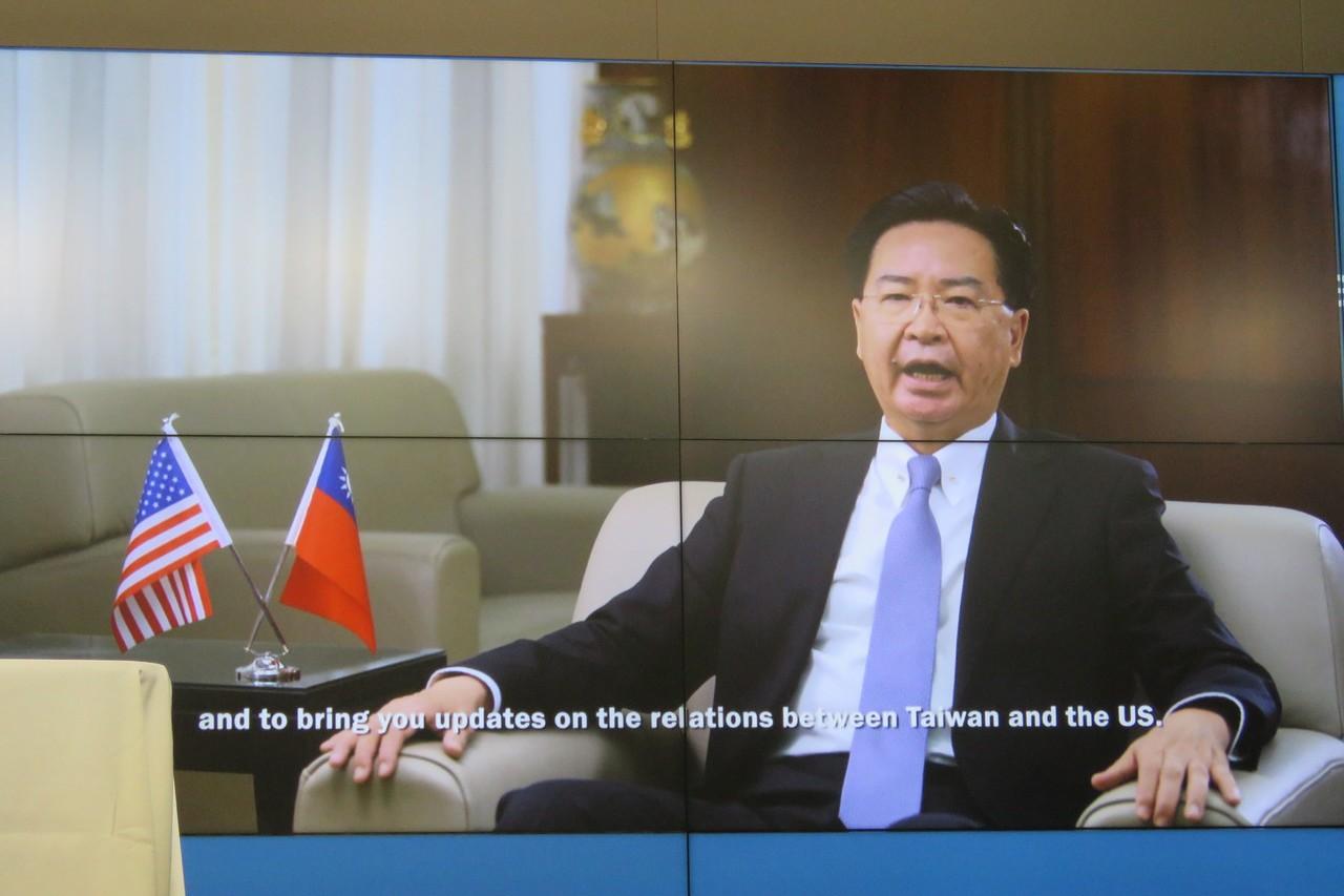 外交部長吳釗燮11日透過預錄影像於美國華府智庫活動致詞。華盛頓記者張加/攝影