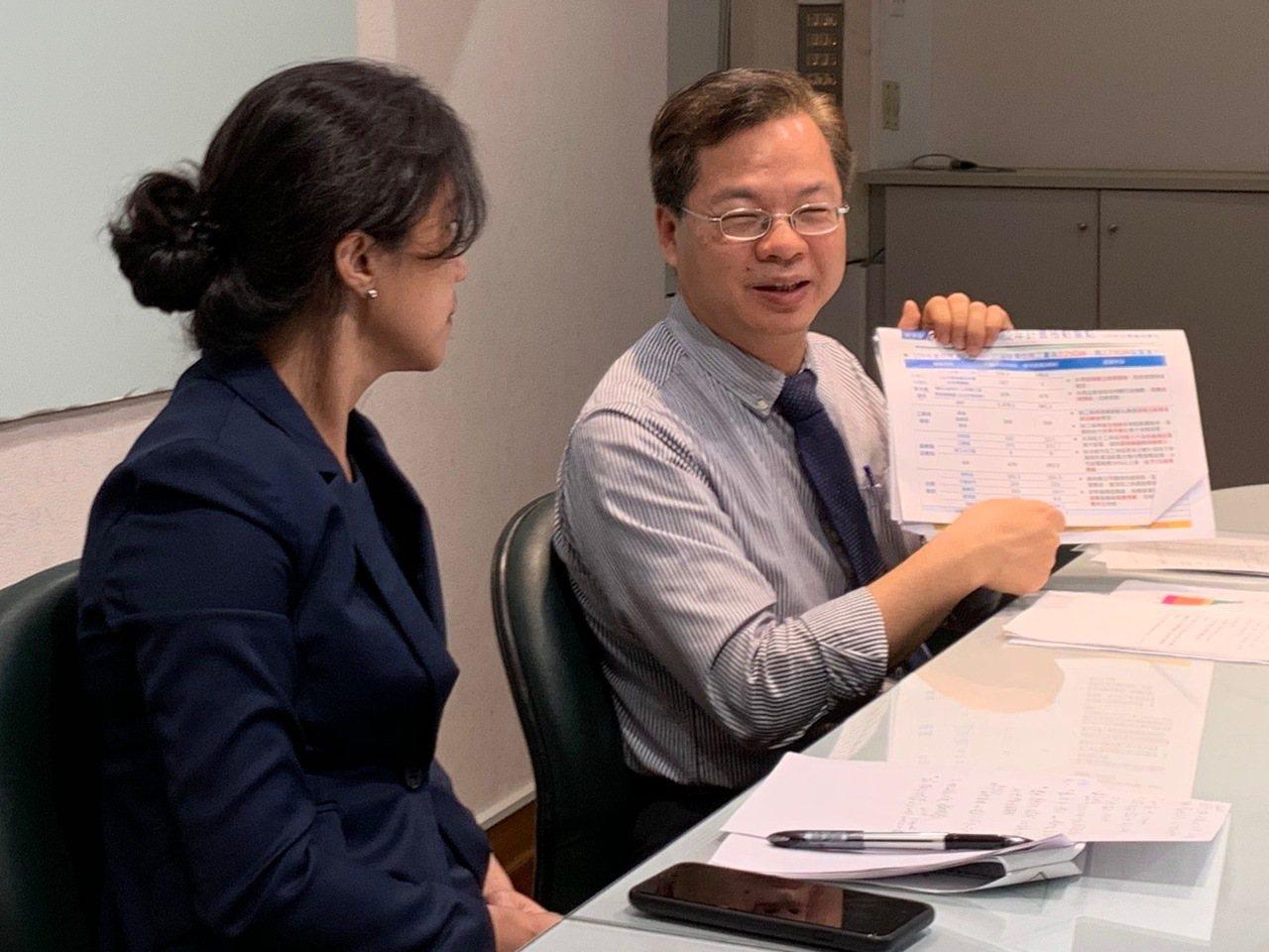 行政院政務委員龔明鑫(右)與發言人Kolas Yotaka,昨天說明政府規畫的第...