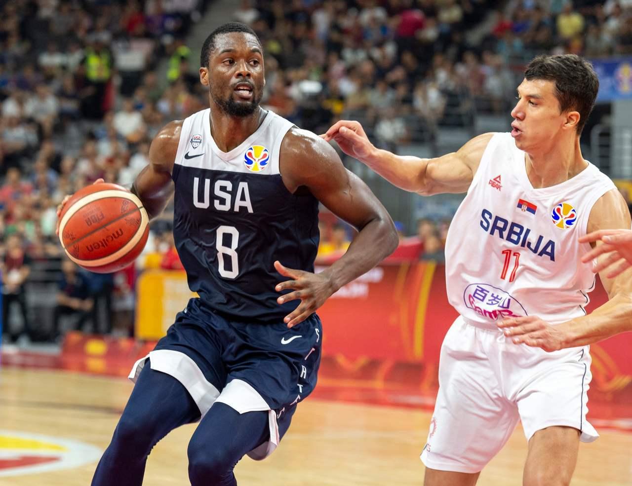 美國隊在今天的五至八名排名賽中又遭到塞爾維亞隊擊退。圖/法新社