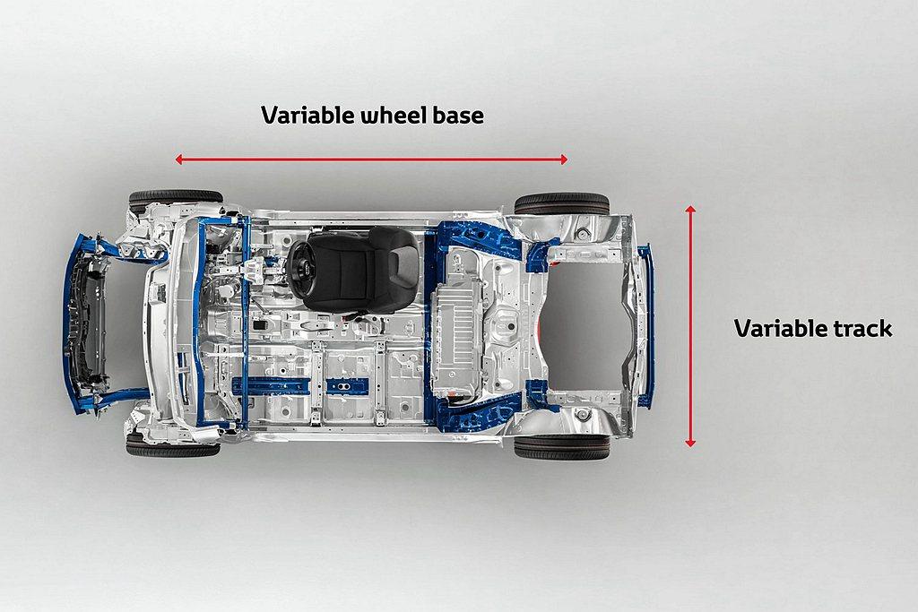 Toyota TNGA-B(GA-B)具備軸距、車高、車寬可拉伸的模組化底盤特性...