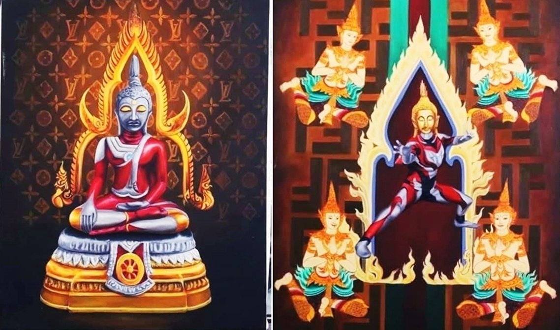這一系列「佛像超人」格外引起注意,在這些畫做中,傳統的泰國佛像身軀變成了《超人力...