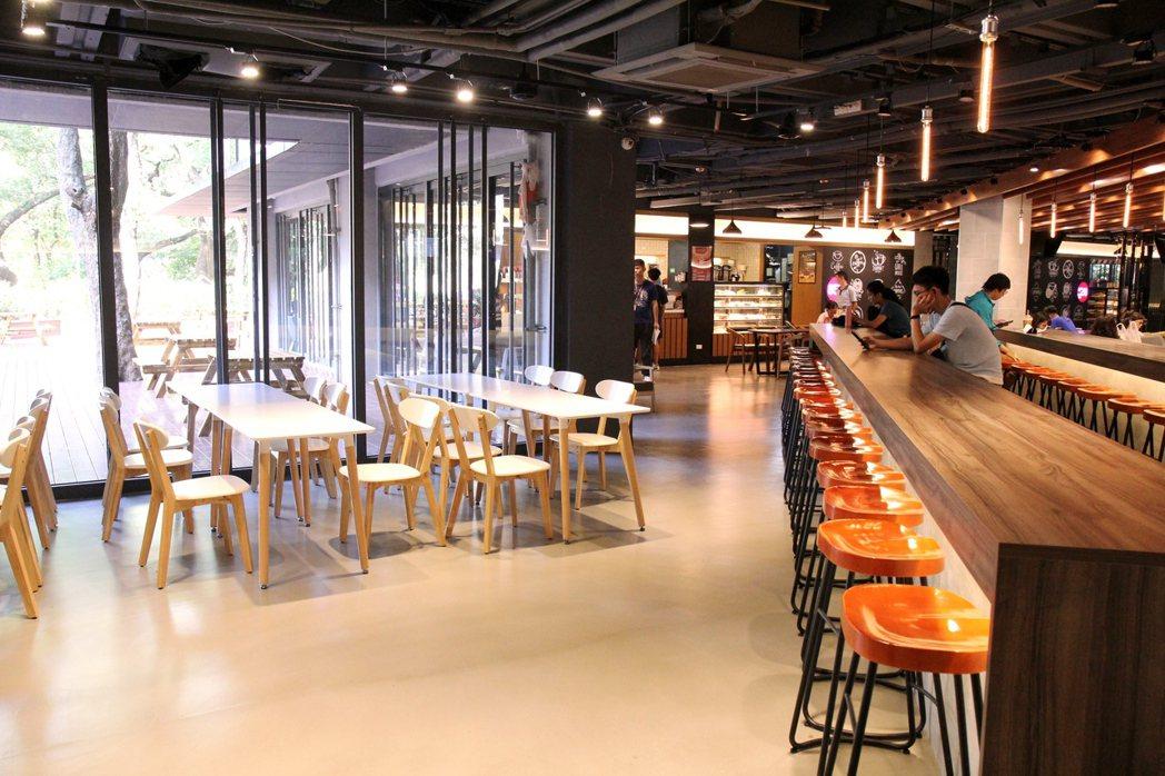 交大第二餐廳媲美百貨美食街的質感用餐環境。圖/交大提供