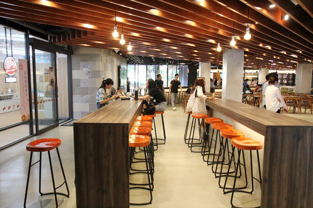 交大第二餐廳以仿清水模地板搭配木紋色系家具。圖/交大提供