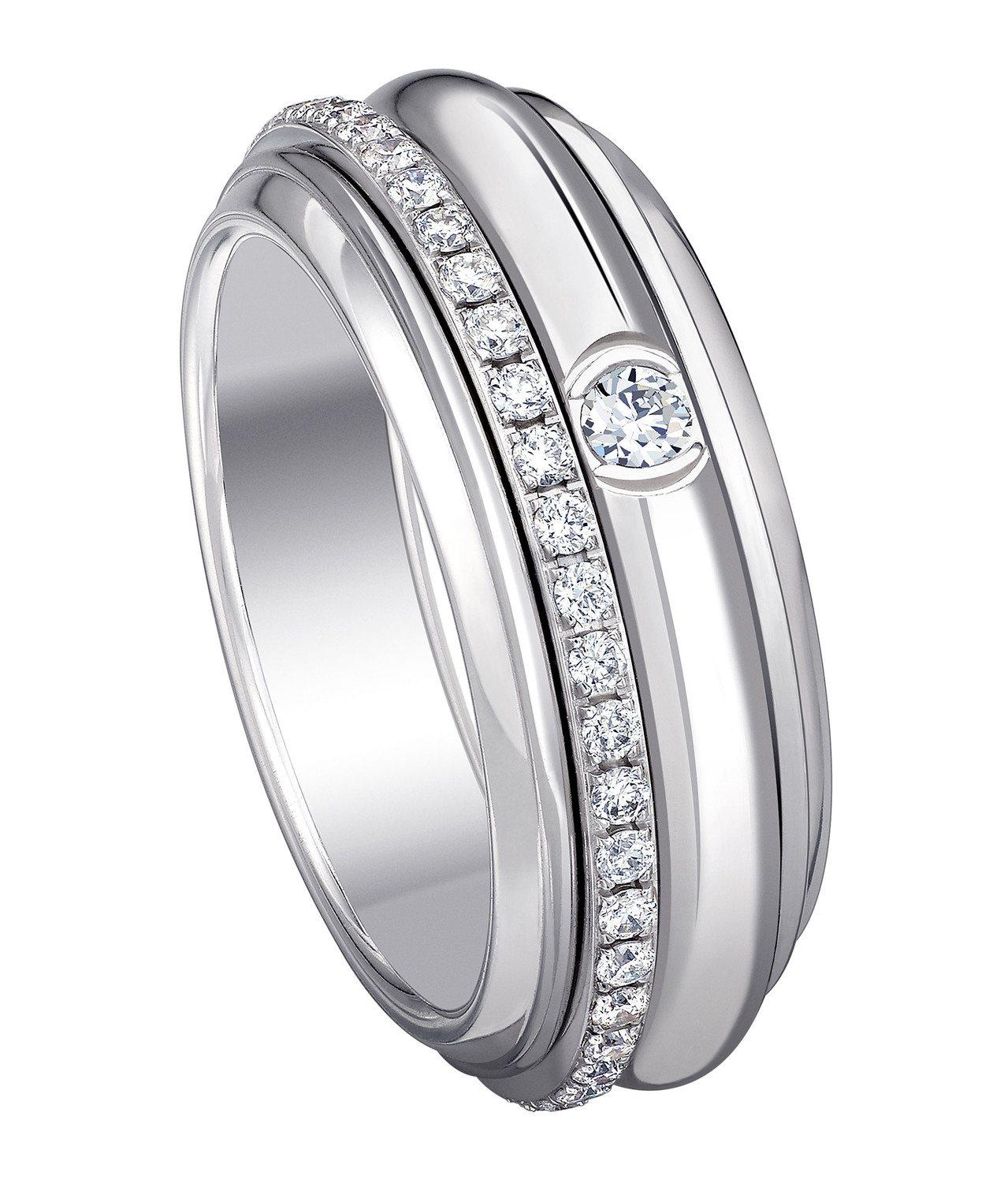 PIAGET Possession系列18K白金鑲鑽戒指,19萬8,000元。圖...