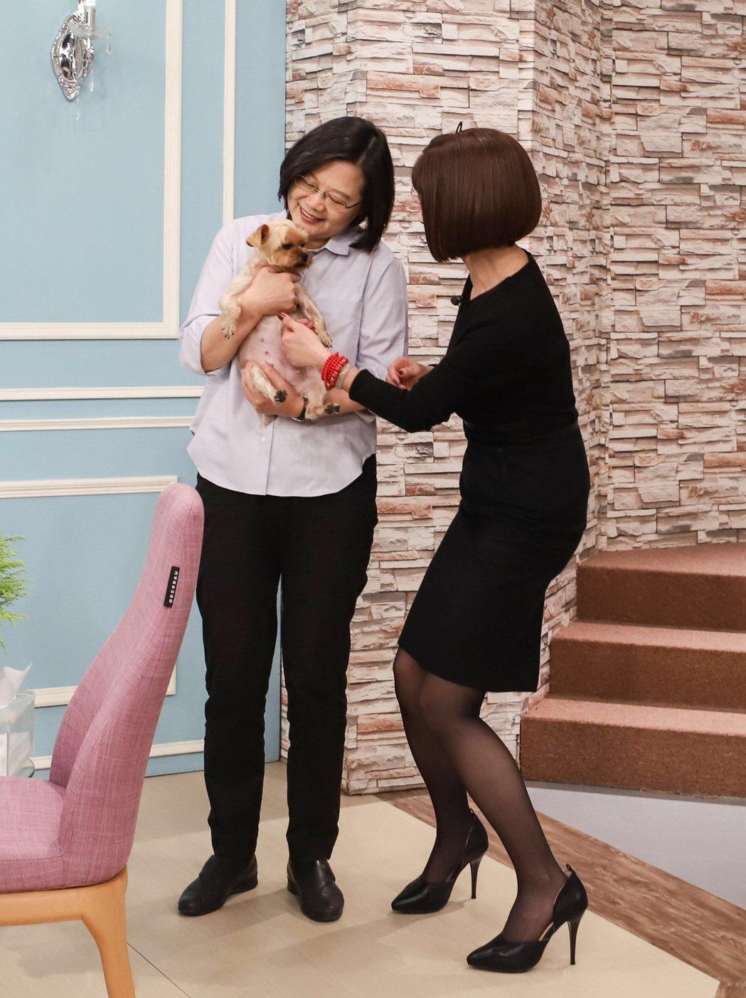 總統蔡英文(左)上「美鳳有約」,對陳美鳳的小狗妞妞很有興趣  圖/民視提供