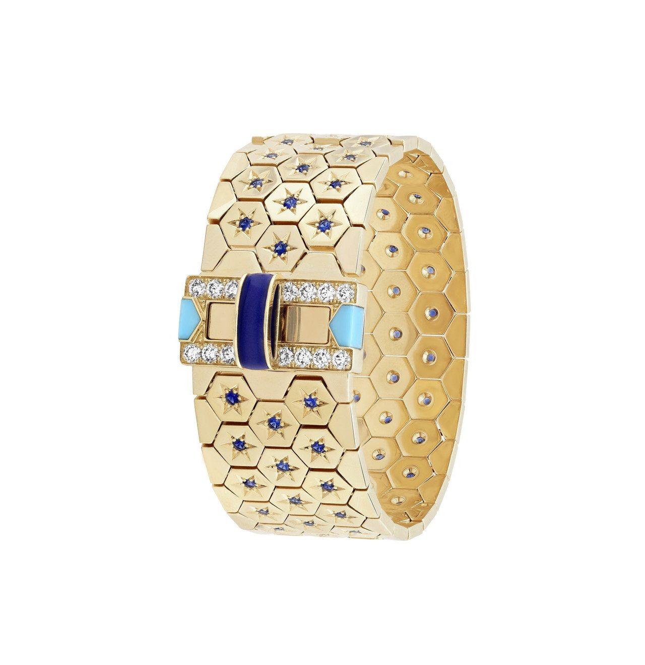 梵克雅寶Ludo手鐲,黃K金鑲嵌藍寶石、綠松石、青金石、鑽石,184萬元。圖/梵...