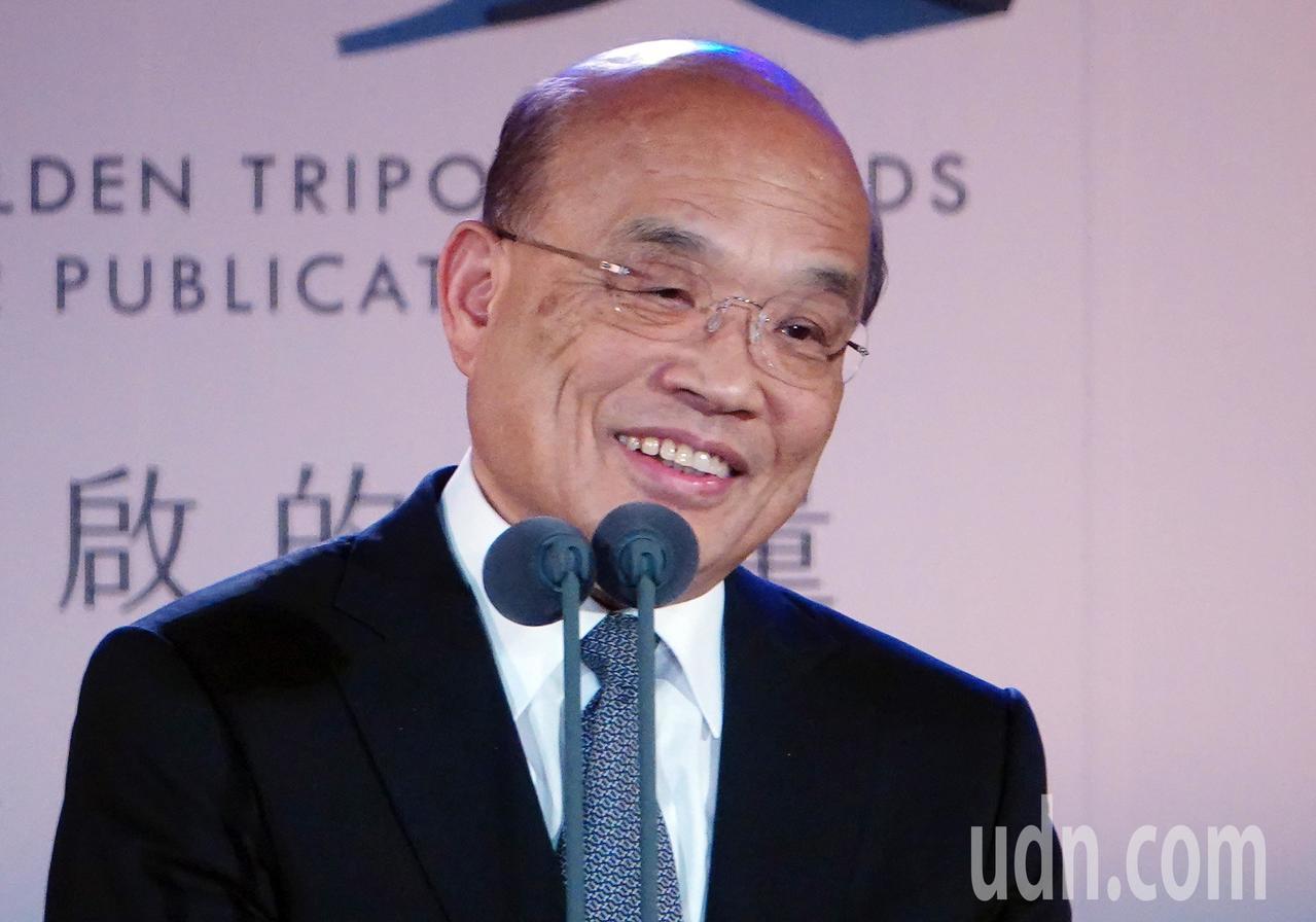 行政院院長蘇貞昌下午出席第43屆金鼎獎頒獎典禮致辭。蘇貞昌在會前受訪時,針對郭台...
