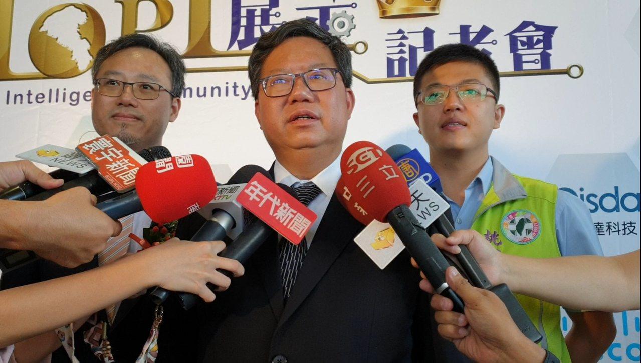 桃園市長鄭文燦認為郭台銘選總統,是台灣民主政治多元化的過程。記者鄭國樑/攝影