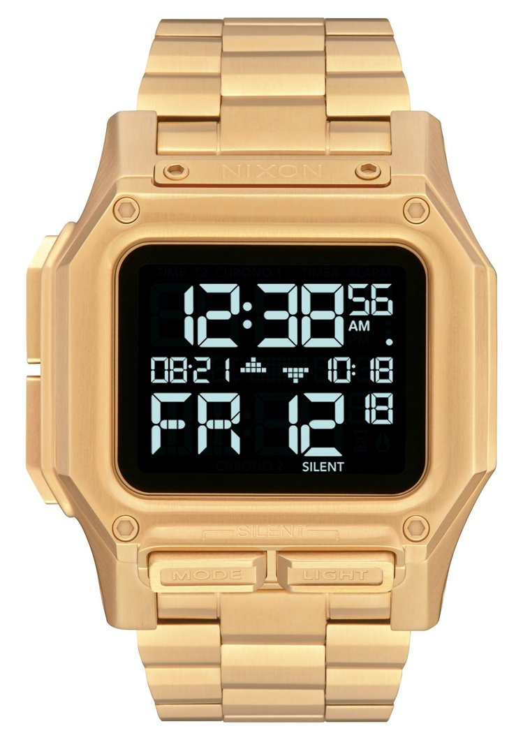 Nixon REGULUS腕表,金色PVD不鏽鋼表殼、表鍊,約9,900元。圖/...