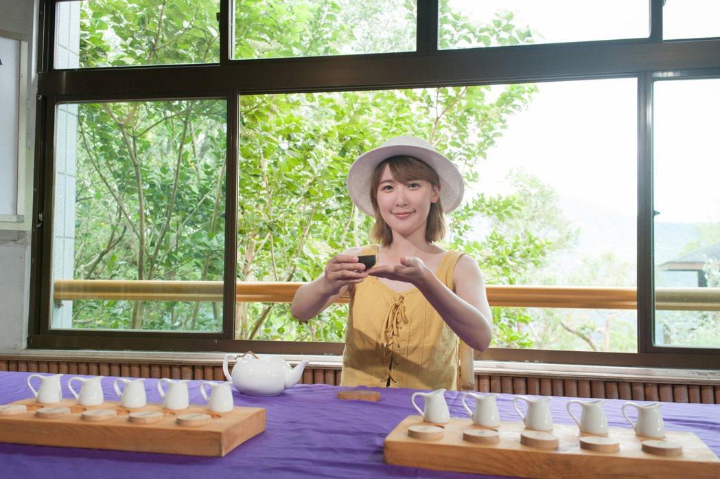 李懿擔任台東「玉富伸展台大地時裝秀」活動形象大使,到鹿野茶園品茶。圖/伊林提供