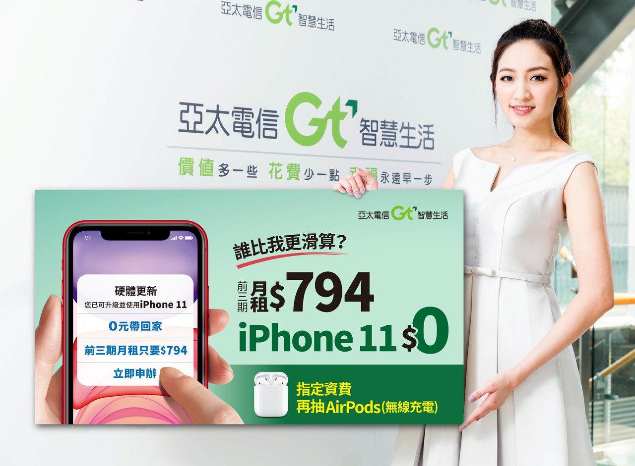 10月底前至亞太電信申辦iPhone 11系列方案,抽111組無線充電盒版Air...