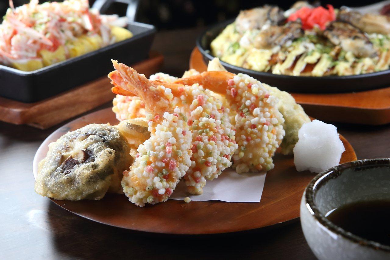 囊括炸蝦與多款蔬菜天婦羅的彩虹炸蝦天婦羅,每份260元。記者陳睿中/攝影