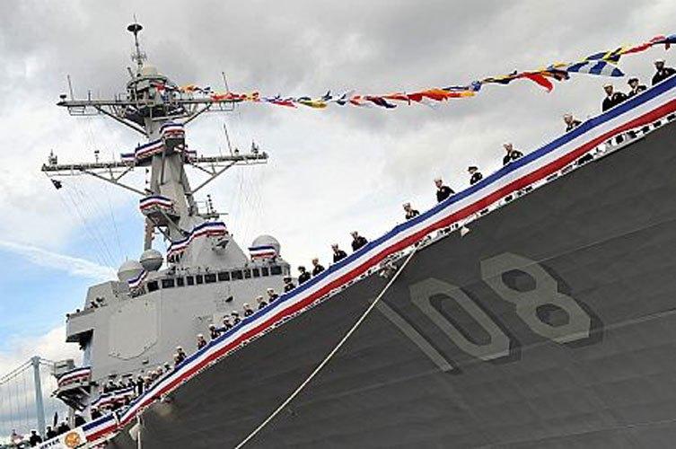 舷號108的美軍驅逐艦「韋恩.E.邁耶」號中秋節當天進入西沙群島水域。(百度)