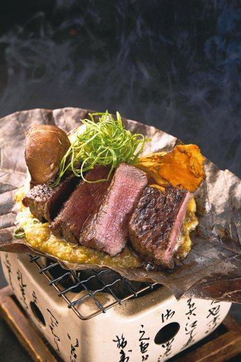 富有多層次香氣與滋味的和牛朴葉燒。 圖/Ukai Kaiseki