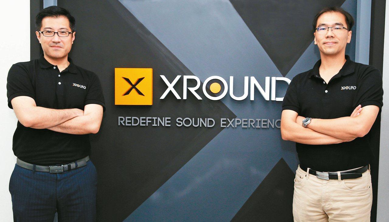 英霸聲學科技執行長李鵬(左),英霸聲學科技營運長簡伯翰(右)