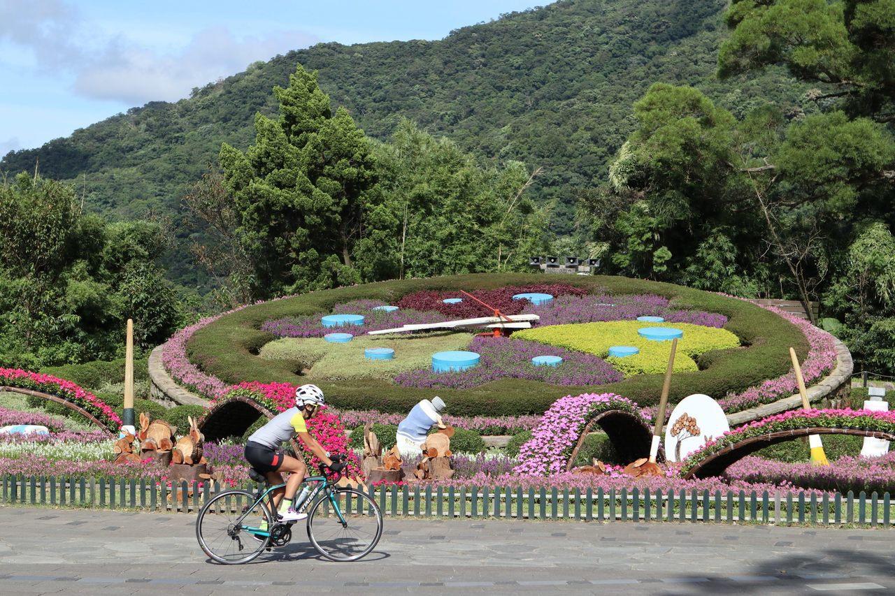 為迎接中秋佳節,台北市公園處利用水彩造型雕塑和木製月兔,將陽明山著名的旅遊景點「...