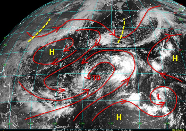 吳聖宇表示,目前在西北太平洋上最搶眼的,仍是巨大的季風環流圈,現在其中有位於環流...