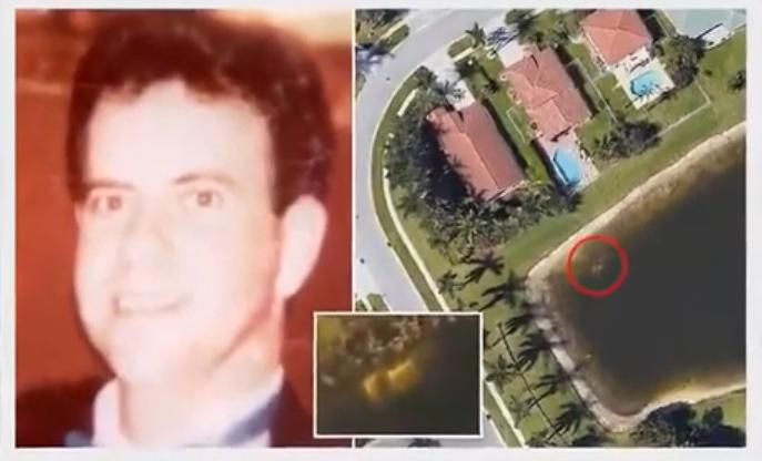 美國男子發現佛州一個湖的邊緣有車子,意外找到22年前失蹤的男子(圖左)。取自Yo...