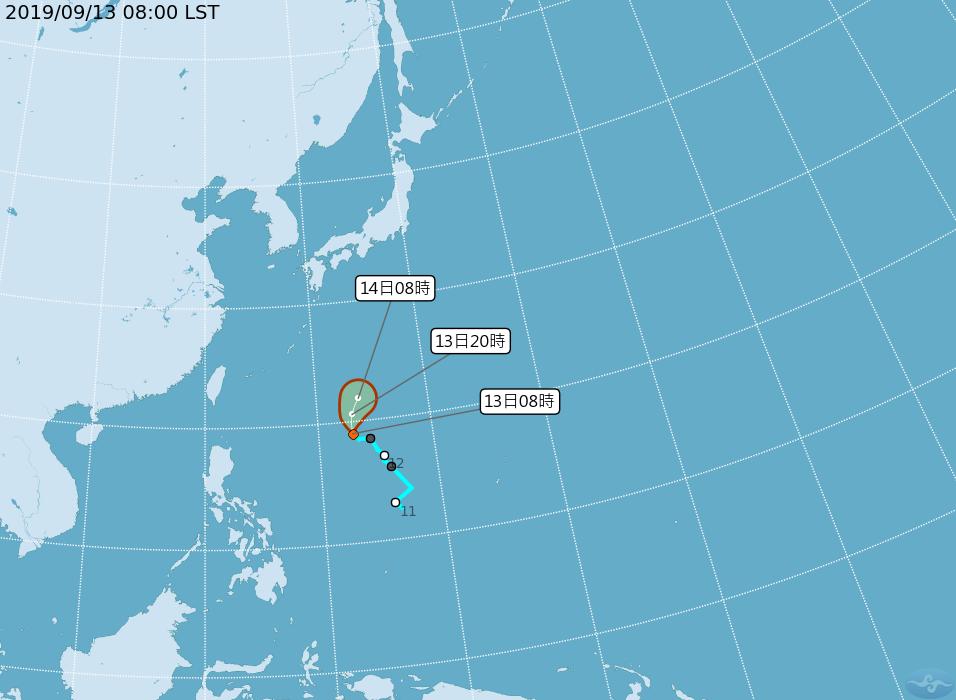 位於菲律賓東方海面的熱帶性低氣壓是否成為颱風,氣象局表示,要再觀察。圖/氣象局提...