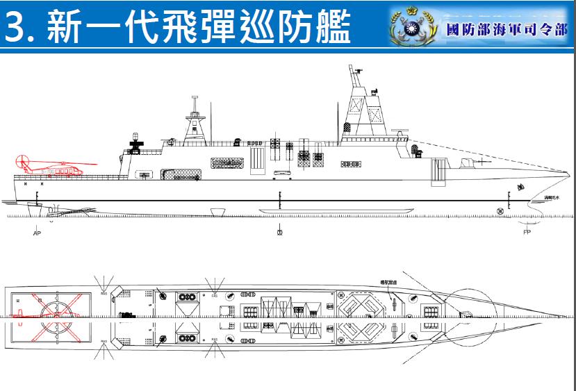 海軍早期公布「建軍願景」中的新一代巡防艦,當時構型包括相位陣列雷達。圖/海軍提供