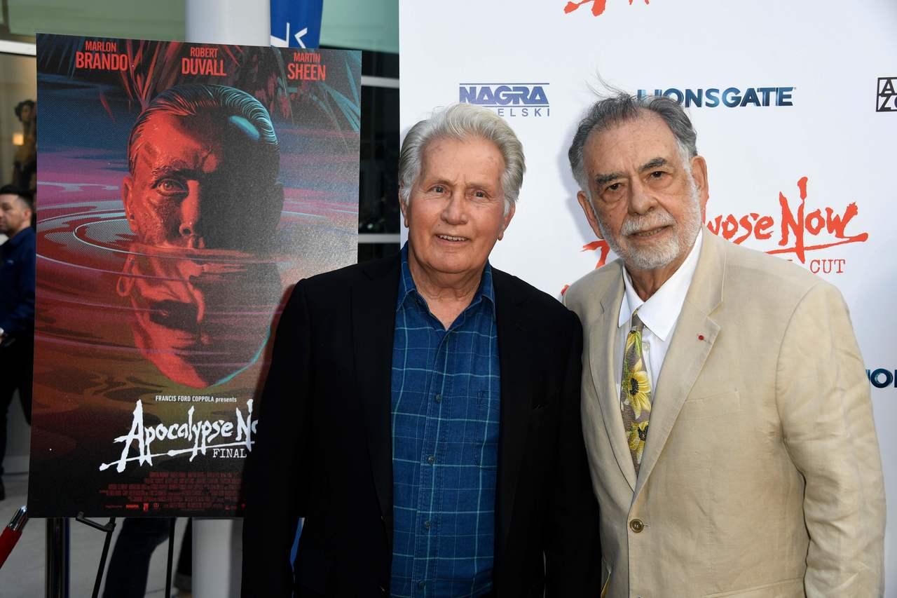 好萊塢大導演法蘭西斯柯波拉(右)與影星馬丁辛(左)今年8月12日聯袂出席《現代啟...