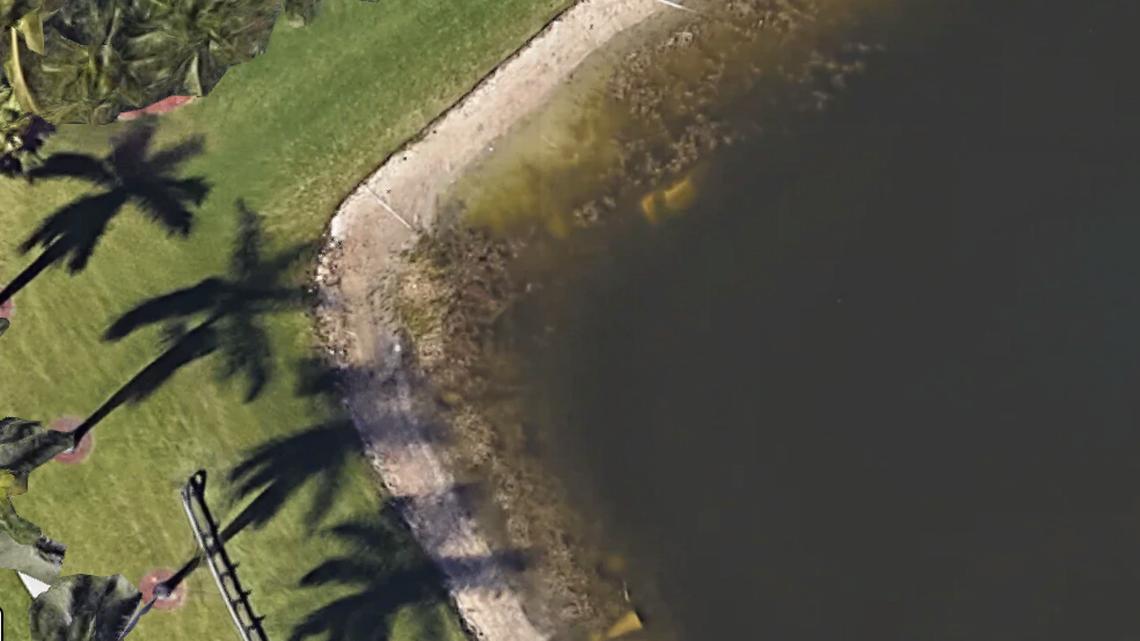 民眾使用Google衛星地圖時,發現一處水塘中有一輛汽車。圖/取自邁阿密先驅報