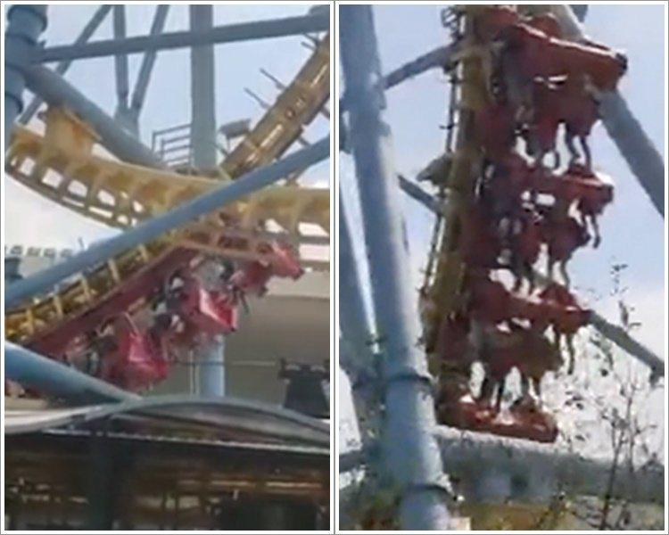 雲霄飛車故障,遊客被掛在空中10分鐘。圖/取自星島日報網站