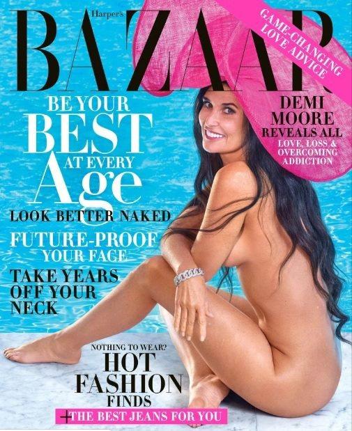 56歲黛咪摩兒再次全裸登上封面。圖/摘自Harpers Bazaar