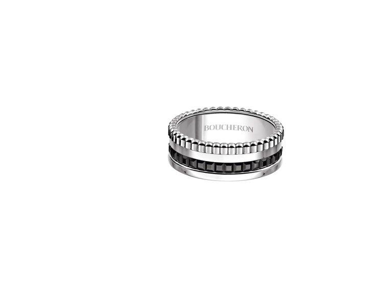 黃景瑜配戴寶詩龍Quatre Black窄版指環,12萬9,000元。圖/寶詩龍...