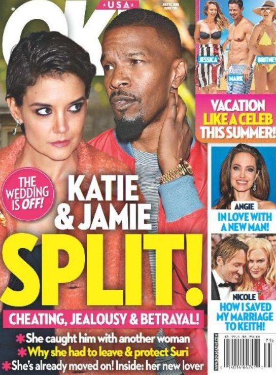 傑米福克斯被爆近期與凱蒂荷姆絲已分手。圖/摘自OK!