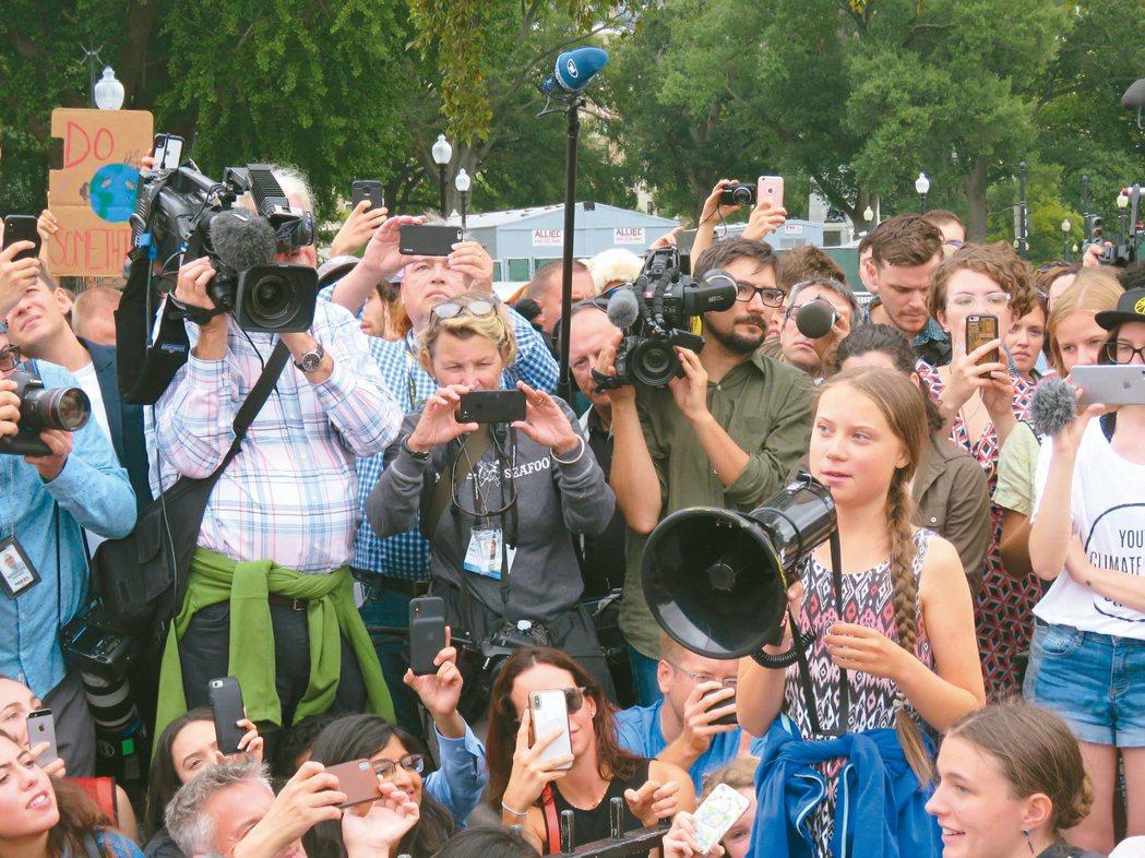 環保小鬥士白宮外遊行「氣候行動高峰會」廿三日將於紐約的聯合國總部召開,獲...