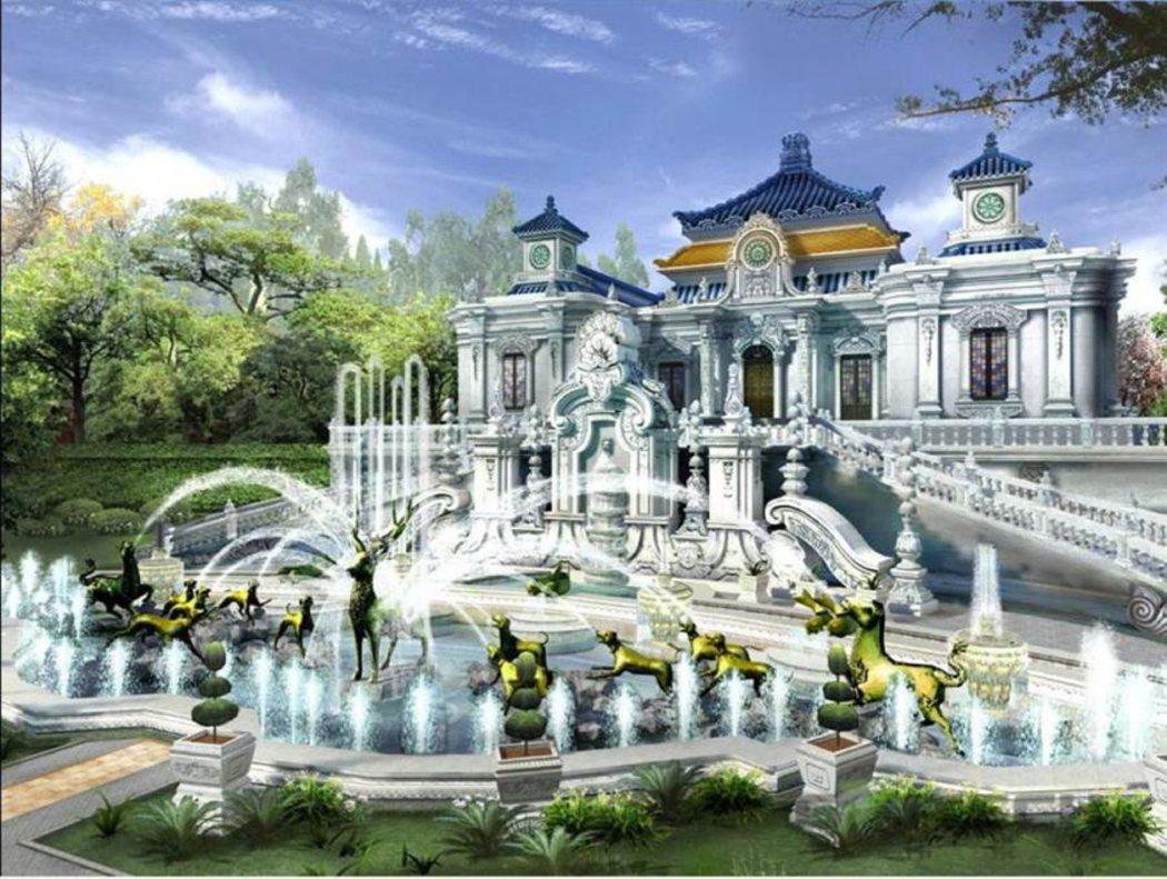 從圓明園的復原模擬圖中,不難看出它的昔日輝煌與美麗。 圖/摘自網路