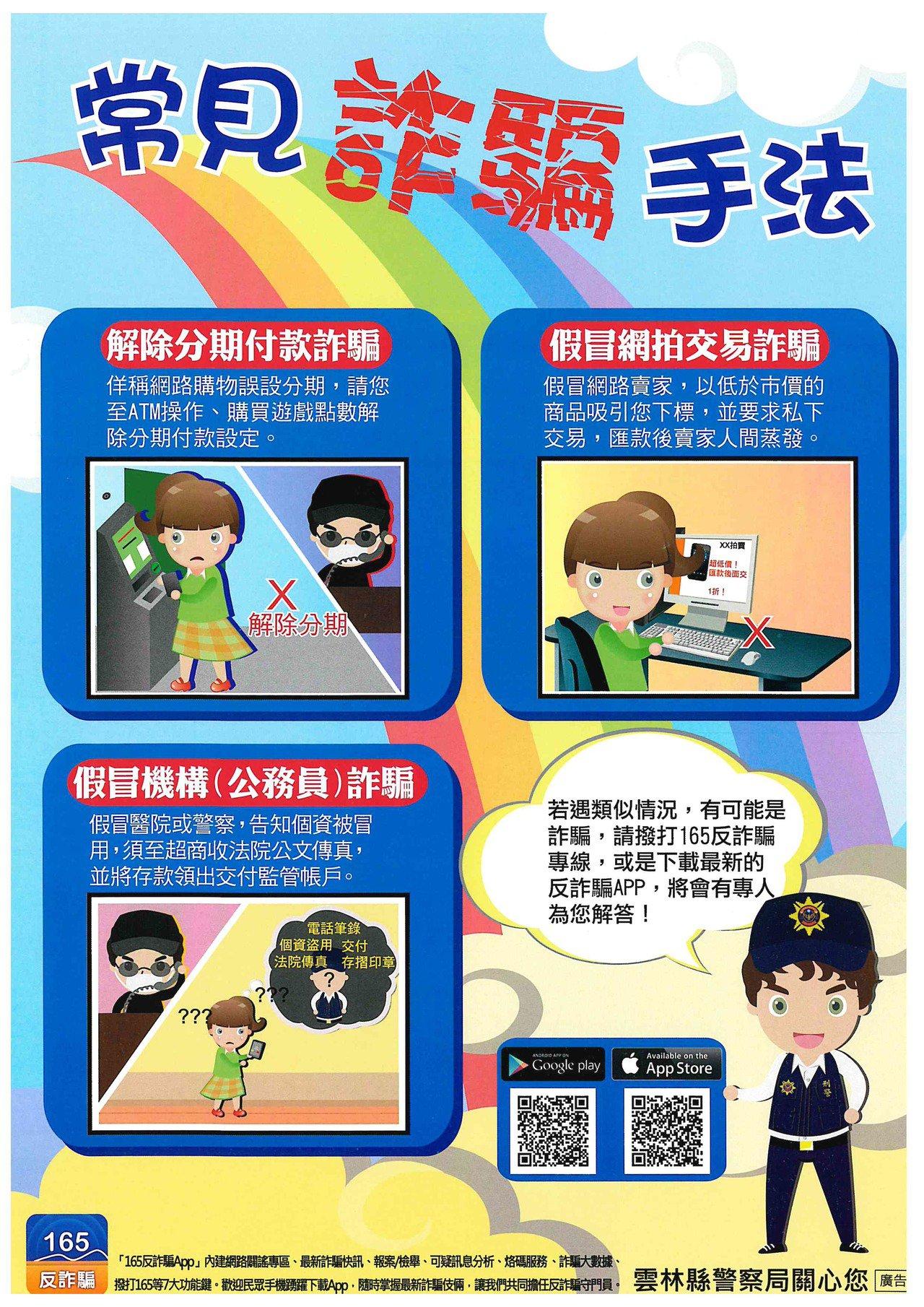 雲林警方呼籲民眾網路詐騙樣態多,切勿受騙上當。圖/警方提供