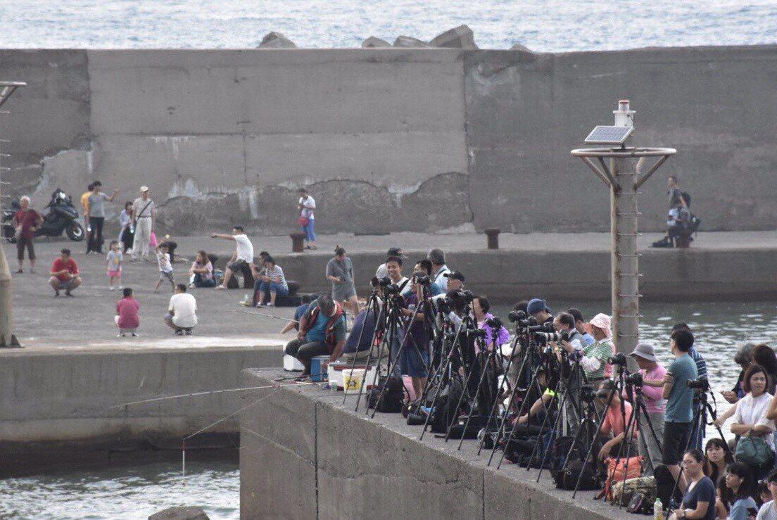 水湳洞漁港最近一到傍晚,湧入大量人潮,堤防上滿滿是人,他們不是來釣魚,而是卡位要...