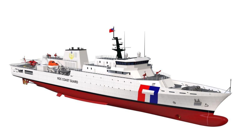 「台版傳奇級」海巡艦,刪除美方海上作戰等設計,除建置可供海軍S-70C海鷹型直升...