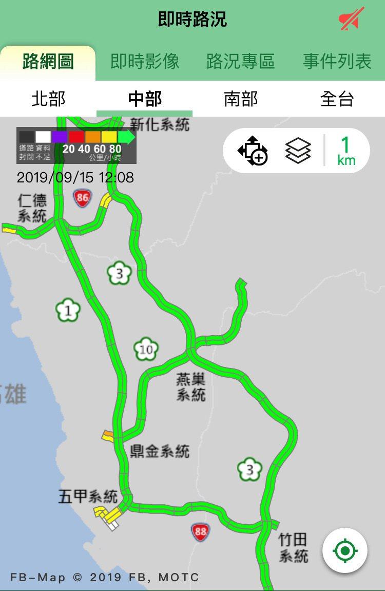 國一、國三及國十的南部路段,今天上午到中午12點,車速能維持時速80公里以上。圖...