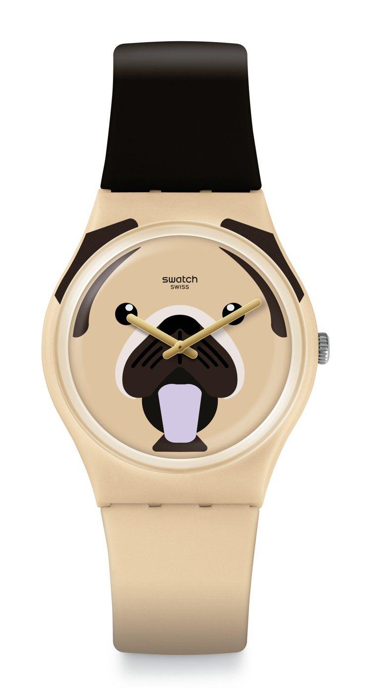 SWATCH乖巧巴哥犬CARLITO腕表,2,050元。圖/SWATCH提供