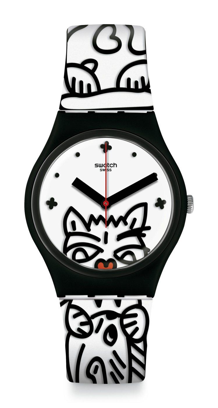 SWATCH喵星人英雄COMICAT腕表,2,050元。圖/SWATCH提供