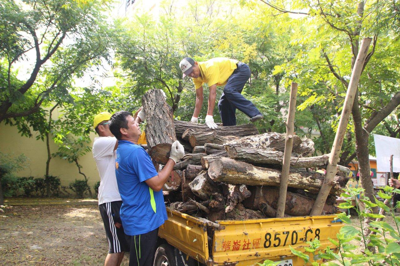 華崙里長張俊卿動手將先前被吹斷的樹枝整理。記者林敬家/攝影