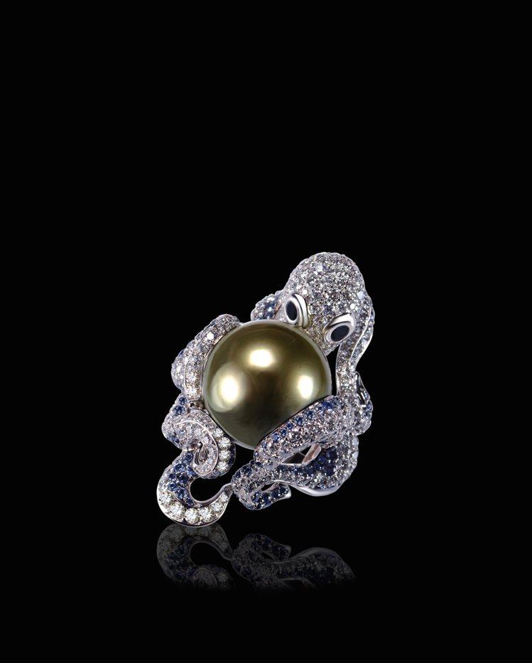 幻響亞特蘭Atlantis Fantasy系列擁抱戒指,主石14毫米大溪地黑珍珠...