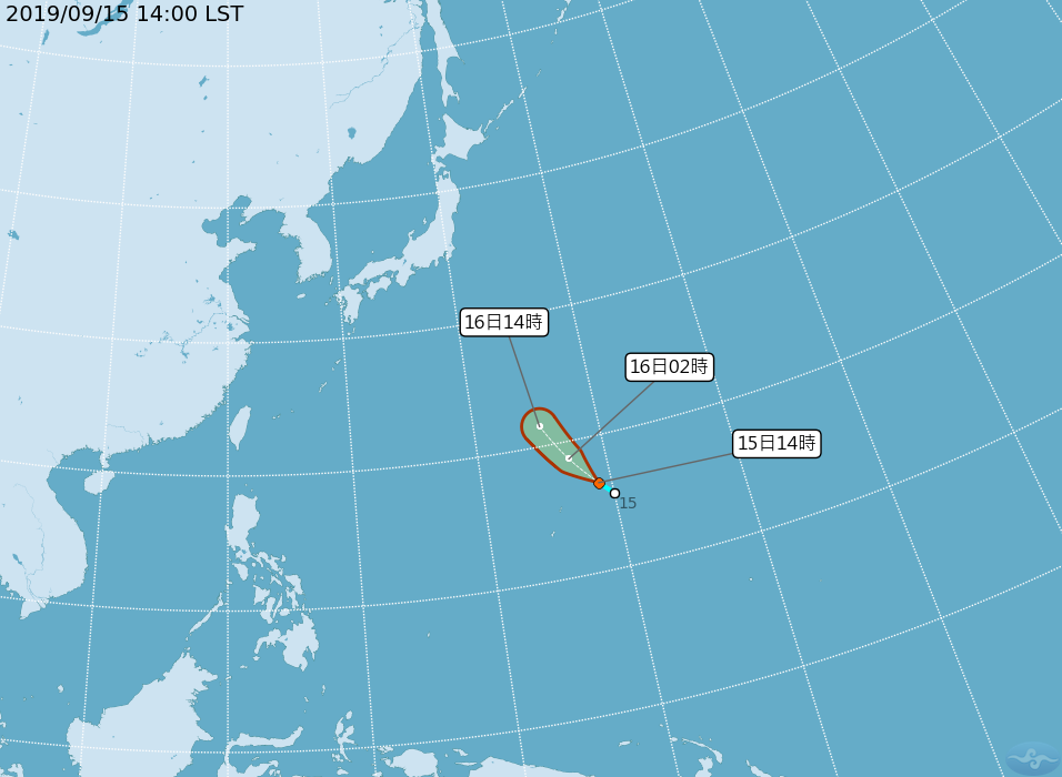 台灣東邊海面熱帶性低氣壓今晚增為「琵琶」颱風。圖/取自中央氣象局網站