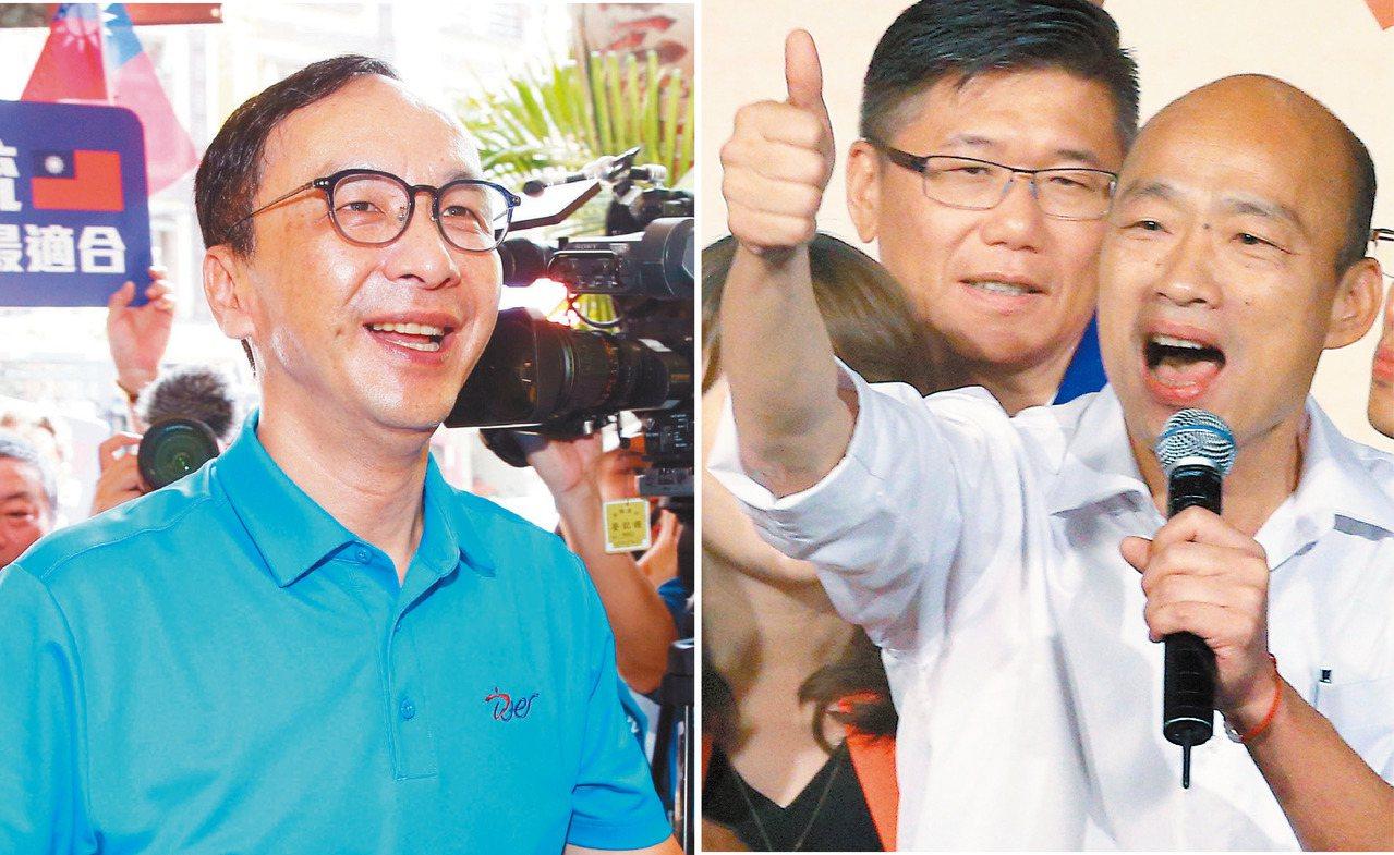 國民黨總統參選人韓國瑜(右)昨拜會前主席朱立倫(左),氣氛融洽。圖/聯合報系資料...