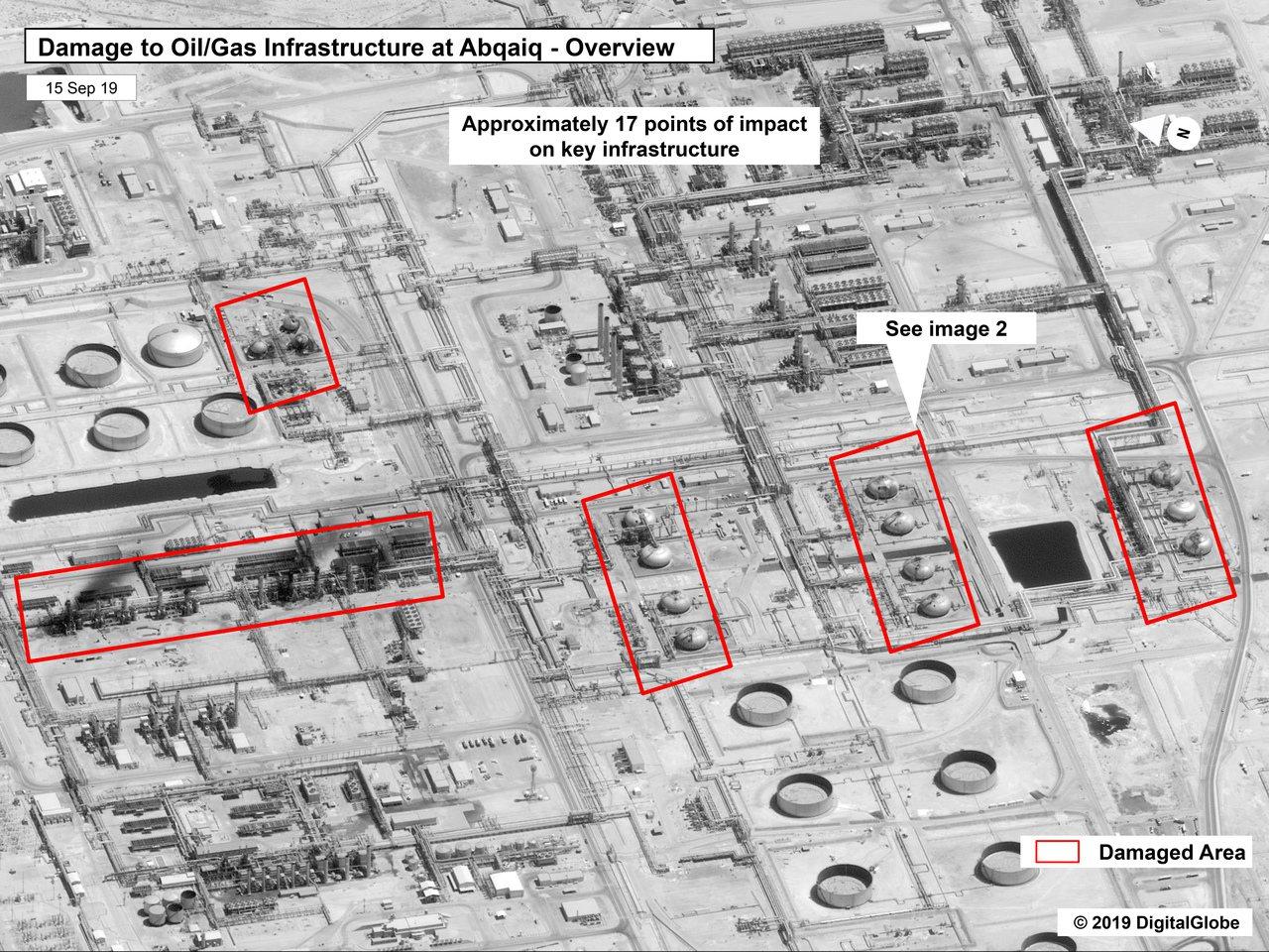 美國政府15日公布沙國阿布蓋格煉油廠遭攻擊後的衛星圖像。美聯社