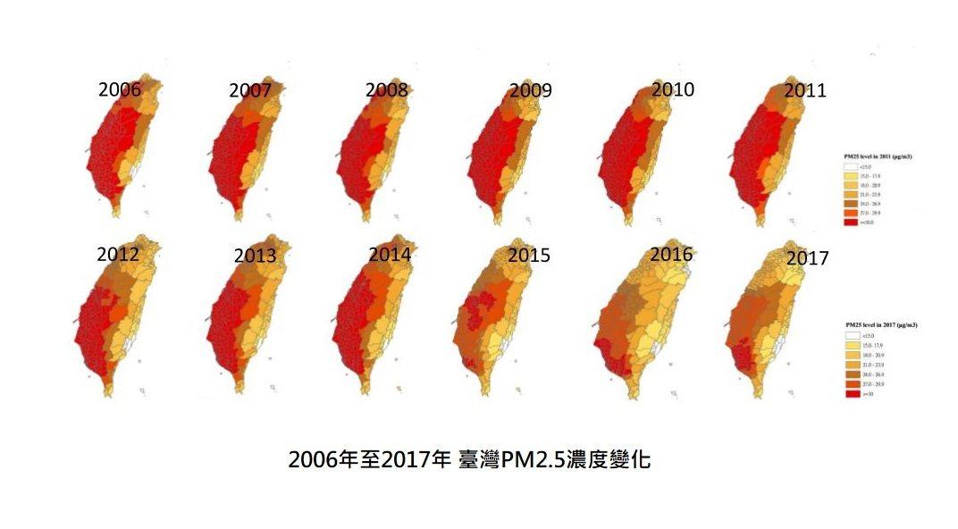 2006年至2017年臺灣PM2.5濃度變化。資料來源/國家衛生研究院