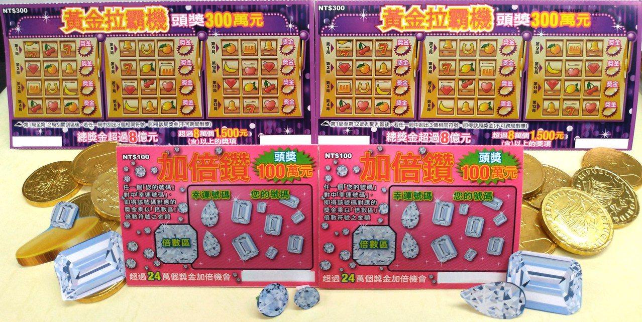 刮刮樂「加倍鑽」的票面(下方)。圖/台灣彩券公司提供