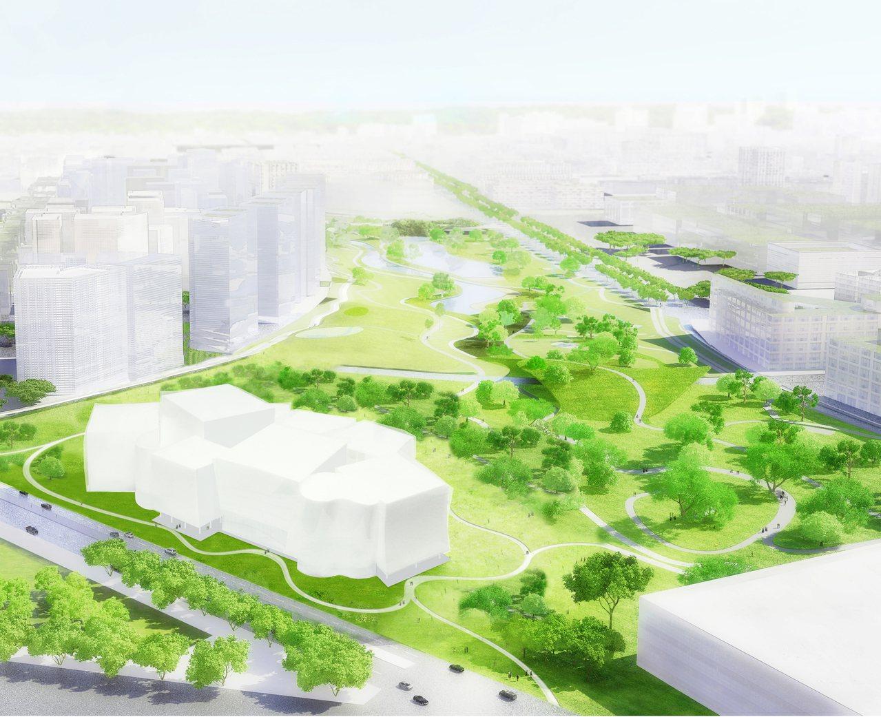 台中綠美圖今天動工,建築師妹島和世說,建築1樓挑高,外罩金屬擴張網,可引導公園的...