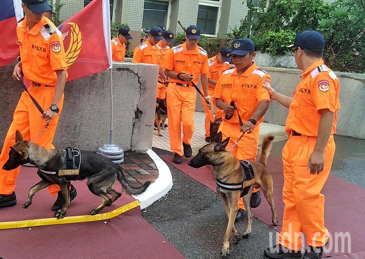 海巡署偵搜犬隊成軍,第一批15隻偵搜犬進行農畜品、毒品、爆裂物訓練,未來增加台灣...