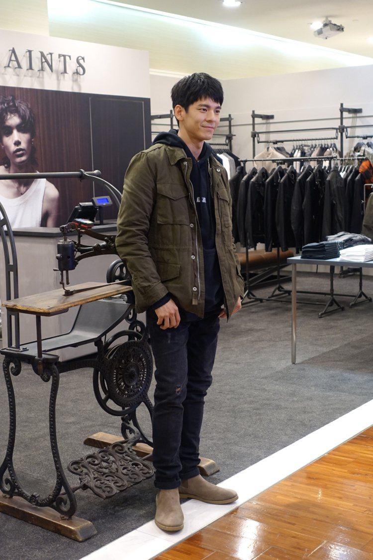 林柏宏現身AllSaints男裝店開幕,穿著Baynes飛行夾克9,200元、搭...